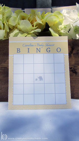 Elephant Baby Shower Bingo Yellow Gray