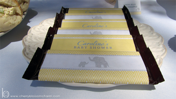 Printable Elephant Candy Bar Wrappers Yellow Gray