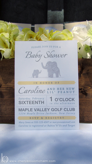 Gray Yellow Neutral Baby Shower Invite