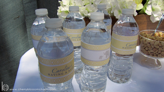 Printable Water Bottle Labels for Elephant Baby Shower