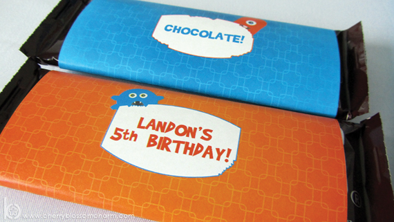 Printable Candy Bar Wrappers for Monster Birthday Party