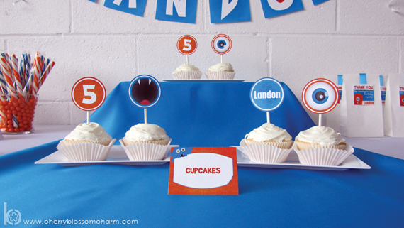 Printable Cupcake Toppers for Monster Birthday Party
