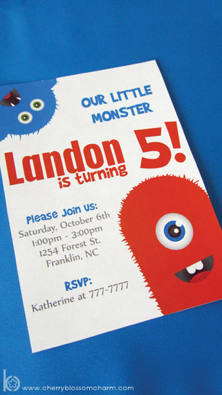 Printable Invitation for Lil Monster Birthday Party