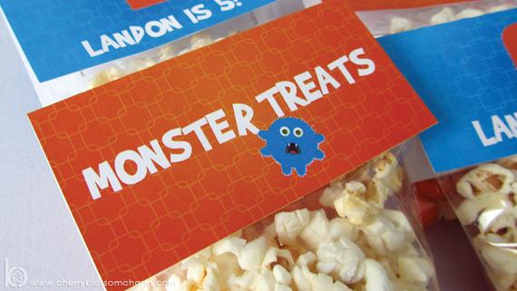 Printable Monster Birthday Treat Bag Topper