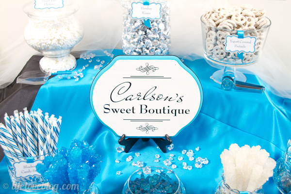 Black Blue White Candy Buffet Sign