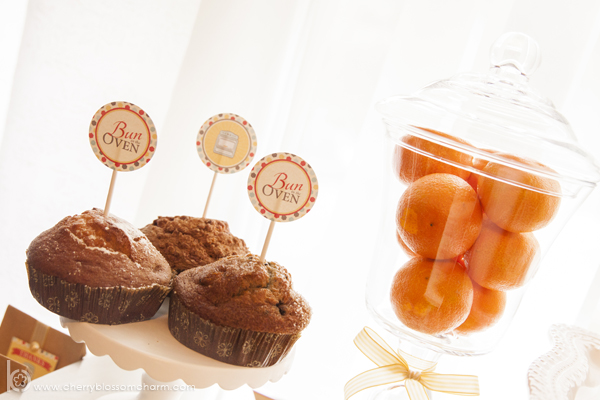 Bun in the Oven Baby Shower - Printable Cucpake Toppers in Muffins