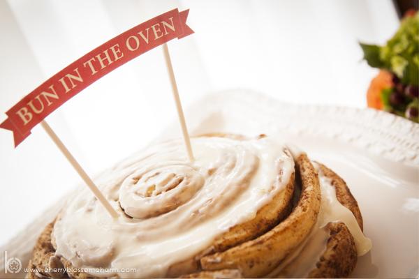 Bun in the Oven Baby Shower - Cinnamon Bun Cake