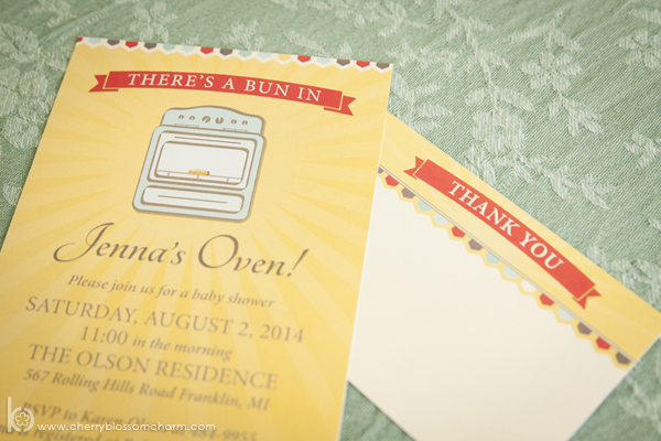Bun in the Oven Baby Shower Invitation and Thank You Card - Gender Neutral Invitation in Yellow, Orange, and Mint Green