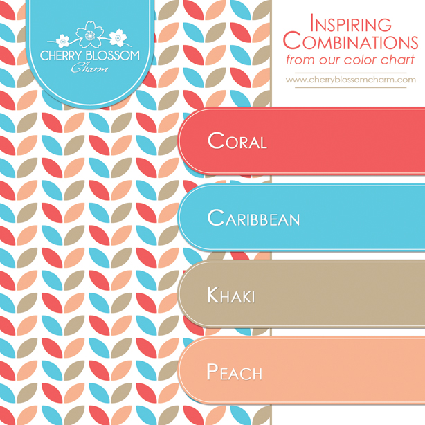 Coral Blue Brown and Peach Color Combo