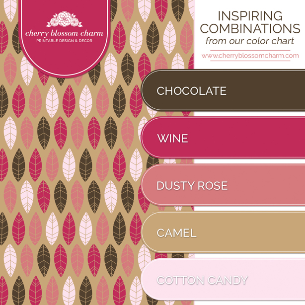 Chocolate Wine Rose Quartz Color Combo